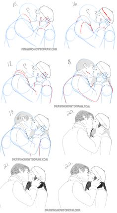 how to draw two people kissing who are in love - easy tutorial in steps
