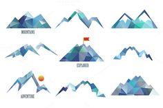 Mountains Logo Templates on Creative Market Mountain Logos, Mountain Designs, Mountain Tattoo, Mountain Mural, Logo Montagne, Berg Logos, Tattoos Mandala, Creative Sketches, Pencil Illustration