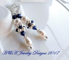 Indigo Blue White Swarovski Crystal and Pearl Cluster Bead Earrings, Navy Blue Crystal Earrings, White Pearl Earrings, Cluster Bead, Navy by hhjewelrydesigns on Etsy