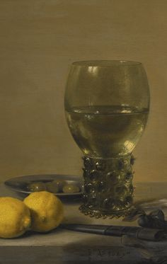 Pieter Claesz. BERCHEM 1597/8 - 1660/1 HAARLEM STILL LIFE OF LEMONS AND OLIVES, PEWTER PLATES, A ROEMER AND A FAÇON-DE-VENISE WINE GLASS ON A LEDGE