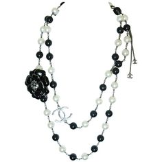 Chanel black and white pearl necklace ❤ liked on Polyvore featuring jewelry, necklaces, accessories, chanel, chanel jewellery, black white jewelry, white pearl necklace, black and white necklace and chanel jewelry