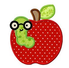Apple Bookworm Applique - 3 Sizes! | What's New | Machine Embroidery Designs | SWAKembroidery.com Dollar Applique