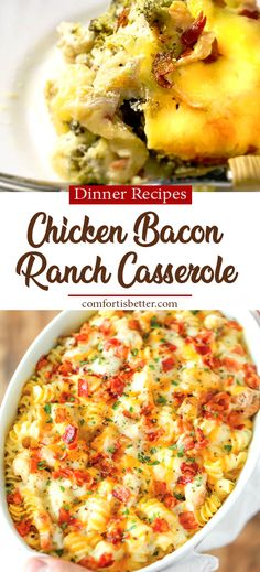 Chicken Bacon Ranch Casserole Recipe (Low Carb) Creamy, cheesy and comforting! Loaded with Ranch chicken, homemade alfredo sauce and ba. Easy Cheap Dinner Recipes, Easy Chicken Dinner Recipes, Chicken Bacon Ranch Casserole, Ranch Chicken, Cheap Casserole Recipes, Homemade Alfredo, Alfredo Sauce, Low Carb, Dinner Meal