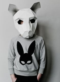 Beau Loves Raglan Jumper Grey Rabbit Mask