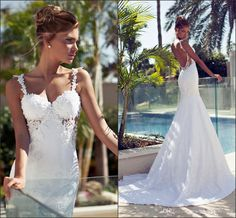 Wholesale cheap wedding dresses online, 2014 fall winter - Find best 2014 new popular lace morden spaghetti straps pearls sweetheart backless sexy backless wedding dress side cut beach bling bridal wear gown at discount prices from Chinese mermaid wedding dresses supplier on DHgate.com.