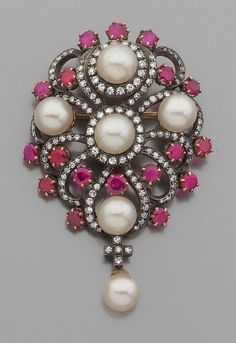A late 19th century diamond, ruby, cultured pearl, gold and silver brooch.