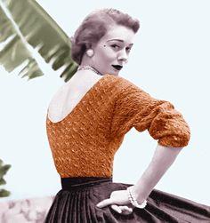 Ähnliche Artikel wie Vintage Vogue Knitting Pattern Sexy Low Back Pull… Vintage Vogue, Vintage Fashion, 1950s Fashion, Crochet Vintage, Vintage Knitting, Look Retro, Look Vintage, Evening Blouses, Pin Up