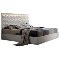 Furniture Import & Export Inc. Pearl Cream Contemporary California... ❤ liked on Polyvore featuring home, furniture, beds, modern contemporary beds, california king platform bed, beige bed, beige platform bed and contemporary furniture