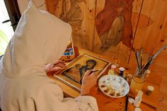 A monk painting