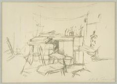 Alberto : The Studio with Bottles, 1957, by Alberto Giacometti etching 16 x 22 in, Edition of 100, Contact Nikola Rukaj Gallery, Toronto for price, #giacometti, #alberto_giacometti_etching