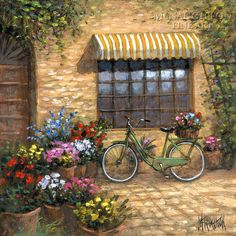 Flower Peddler ~ John McNaughton ~ Along the quiet streets of rustic Italy, there are many such scenes with an old bicycle leaning against a crumbling brick wall. The rich colors of flowers and the golden walls make a charming setting. I just want to hop on that bike and peddle away.