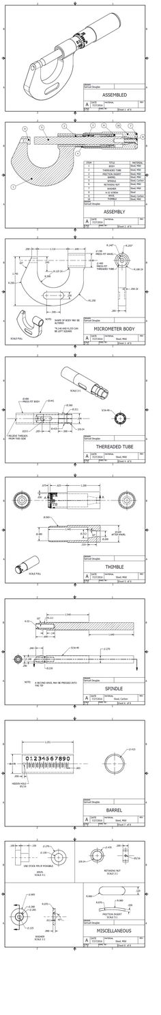 machining blueprints for a 0-1 inch Micrometer