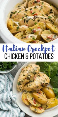 This Creamy Italian Crockpot Chicken and Potatoes is simmere. - Food RecipesThis Creamy Italian Crockpot Chicken and Potatoes is simmered in the most incredible creamy sauce of roasted red peppers, spinach and Italian herbs. It's a dump and go slow Crockpot Chicken And Potatoes, Crock Pot Potatoes, Crockpot Italian Chicken, Crackpot Chicken Recipes, Crockpot Chicken Casserole, Skinny Chicken Recipes, Crockpot Chicken Dinners, Slow Cooker Creamy Chicken, Top Crockpot Recipes
