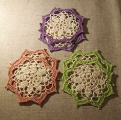 READY TO SHIP Set of 6 crochet mats Crochet by VerLenCrochet