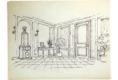 Sketch of Elsie de Wolfe's Hall. Pen on tracing paper.