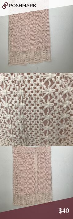 Free People pencil Skirt Size 8 Gently worn lovely baby pink lined crocheted Skirt !! Lovely it's just too small for me :( Free People Skirts Midi