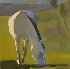 #1018 The DPW Challenge horse grazing, painting by artist Lisa Daria Kennedy