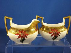 "Tressemann & Vogt (T&V) Limoges Poinsettia Motif Creamer & Sugar Set (Signed ""Caps""/c.1892-1907)"