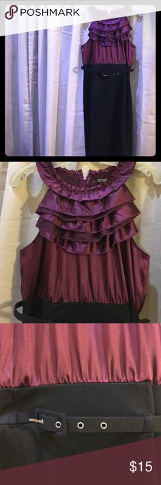 MAKE AN OFFER‼️Apt 9 Belted Cocktail Dress Size 10 APT.9 sleeveless purple and black ruffle neck  cocktail  dress, size 10 Belted Excellent Condition Apt. 9 Dresses