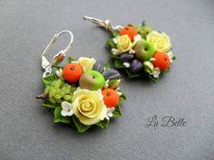 Earrings with miniature Original creative fruit earrings miniature fruits out of polymer clay. Will make to order. Diameter 1,3\16 inch ( 3 cm).