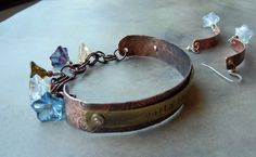 textured copper bracelet and earrings - inspiration pieces