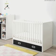 STUVA / FRITIDS Crib with drawers, white. Whether sleeping peacefully or crying to be picked up, an IKEA crib will keep your little one safe and sound. Safety is important, which is why we test our cribs to the strictest safety standards in the world. Cot Bedding, Crib Mattress, Ikea Cot, Drawer Lights, Ikea Stuva, Ikea Canada, Spindle Bed, Blue Crib, Ikea Toddler Bed