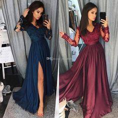 Maroon Prom Dresses 2018 Black Girl Couple Women Split Navy Blue Arabic Formal Evening Wear Party Gown Pageant Dress Long Sleeve V-Neck Lace