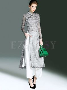Shop Ethnic Stand Collar Dress & Brief Pure Color Pants at EZPOPSY. Pakistani Dresses, Indian Dresses, Indian Outfits, Muslim Fashion, Hijab Fashion, Fashion Dresses, Ethnic Fashion, Indian Designer Outfits, Designer Dresses