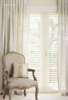 Image result for white timber blinds curtains