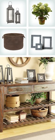 How to style a console table: pair décor accents with varying heights, like stacks of books, picture frames, and flower vases for an asymmetrical look. Click to shop the look on Wayfair!
