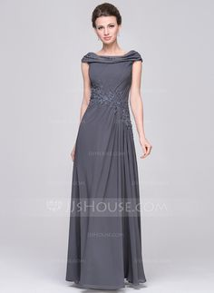 A-Line/Princess Scoop Neck Floor-Length Ruffle Beading Appliques Lace Sequins Zipper Up Cap Straps Sleeveless No 2015 Other Colors Spring Summer Fall Winter General Plus Chiffon Mother of the Bride Dress