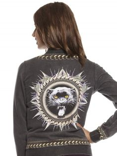 Stuvinchy Code Bomber Jacket in Black (back view - too cool not to show). Roar!! I'm a big kitty cat!