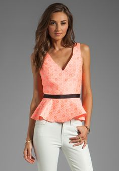 """Dolce Vita Anjolie Peplum Top in Neon Coral""-beautiful color and back detail; understated print  @REVOLVE (revolveclothing.com) #peplum #classicwithatwist"
