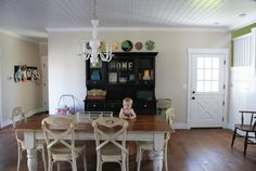 Dining room table inspiration re-do, use white chalk paint, distressed wood top...
