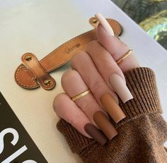Brown Acrylic Nails, Halloween Acrylic Nails, Simple Acrylic Nails, Best Acrylic Nails, Brown Nails, Acrylic Nail Designs, Brown Nail Designs, Fall Nail Designs, Dope Nail Designs