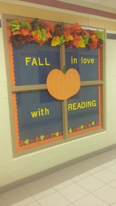 October Bulletin Boards, Elementary Bulletin Boards, Bulletin Board Design, Reading Bulletin Boards, Classroom Bulletin Boards, Classroom Door, Elementary Library Decorations, Library Themes, School Decorations