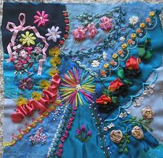 Silk ribbon embroidery, can see crazy block pillow in my future!