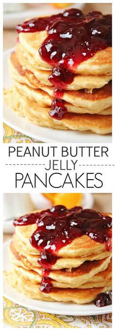 Peanut Butter Jelly Pancakes - a delicious stack of fluffy peanut butter pancakes with your favorite jelly topping!