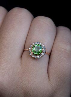 Antique 1.38 Ct Russian Demantoid Rose Cut Diamond Ring - Antique Jewelry | Vintage Rings | Faberge Eggs