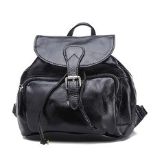 YOUNG VINTAGE GENUINE LEATHER FLAP-OVER DRAWSTRING BACKPACK