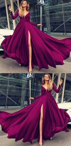 V-neck Long Sleeves Prom Dresses ,Cheap prom Dress,Long Prom Dress,Formal Dress,2018 Leg Slit Evening Gowns
