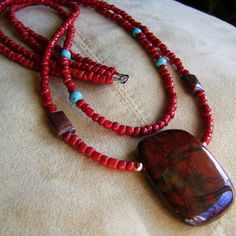 Poppy Jasper and Turquoise Two Strand Artisan by MoonlightAndFire, $60.00