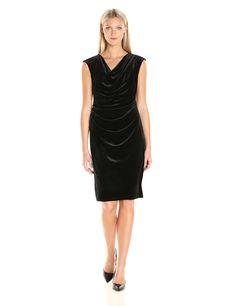 Calvin Klein Women's Cowlneck Velvet Dress