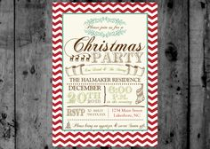 Vintage Chevron Rustic Christmas Party Printable Invitation by MakinMemoriesOnPaper on Etsy https://www.etsy.com/listing/165186674/vintage-chevron-rustic-christmas-party