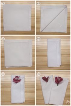 Aprenda como dobrar o guardanapo de uma forma diferente e linda, colocando uma flor para decorar