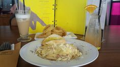 Fettucini carbonara, calamary, orange squash and mocca latte. Great place, great food, great friend, great time.