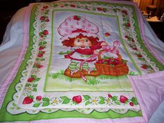 Handmade Baby Strawberry Shortcake Cotton Flannel Baby/Toddler Quilt-Newly Made 2013. $38.00, via Etsy.