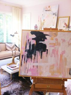 abstract painting on an easel