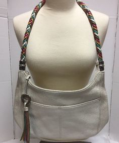 87c47424fcd9 Brighton Barbados Pebbled Leather White Hobo Handbag Tassel Braided Strap
