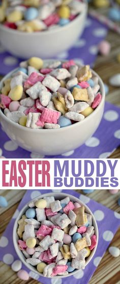 These Easter Muddy Buddies are perfect for an Easter snack or Easter dessert - this recipe will quickly become one of your favourite puppy chow recipes! Cereal, Breakfast, Food, Easter Activities, Eten, Hoods, Meals, Corn Flakes, Breakfast Cereal